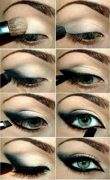 machiaj de seara cat eyes cut