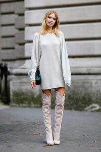 cizme peste genunchi si rochia pulover 1