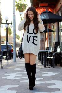 cizme peste genunchi si rochia pulover 3