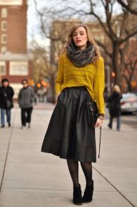 fusta din piele pulover  2