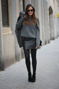fusta din piele pulover 3