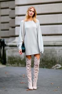 rochie tricotata cizme peste genunchi 1