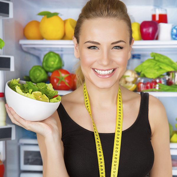Dietitian with fresh salad