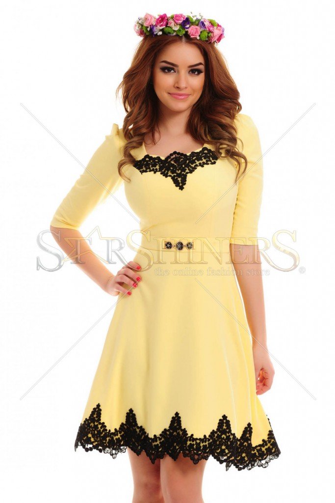 Rochie LaDonna Lovely Embroidery Yellow