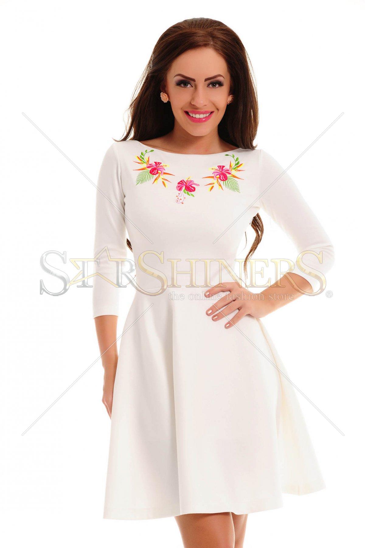 Rochie StarShinerS Brodata Sunrise White