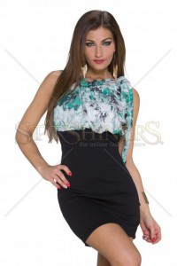 Rochie Flourished Chest Green