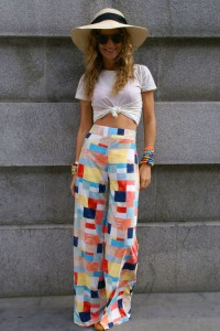 pantaloni imprimeu tinuta boho-chic 4