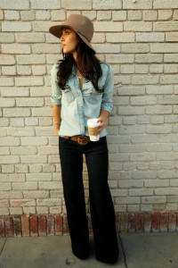 pantaloni evazati + camasi din denim 3 - double denim trend