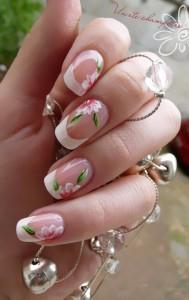 unghii french cu flori 2