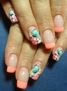 unghii french cu flori