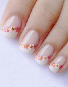 unghii french cu flori 4