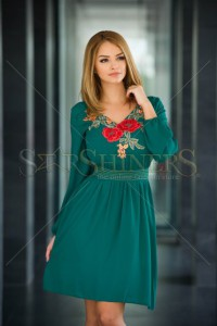 Rochie LaDonna Flowered Chest Green