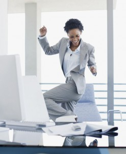 Woman-celebrating-in-office