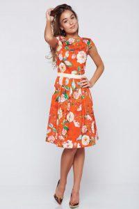 351448a39d Piros LaDonna a-vonalú pamutból készült ruha virágmintás díszítéssel