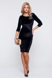 rochie neagra office de catifea