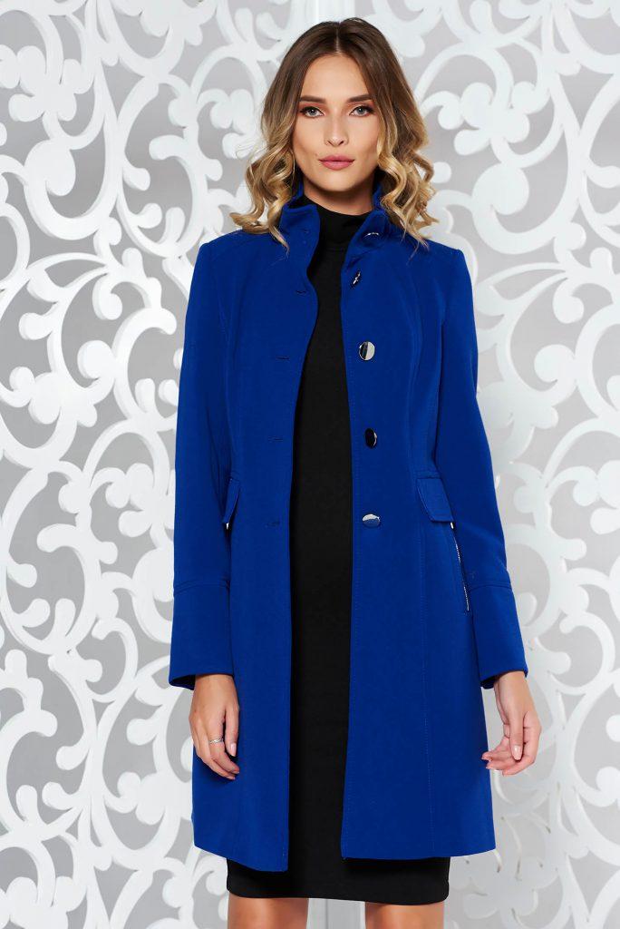 Palton cambrat albastru electric