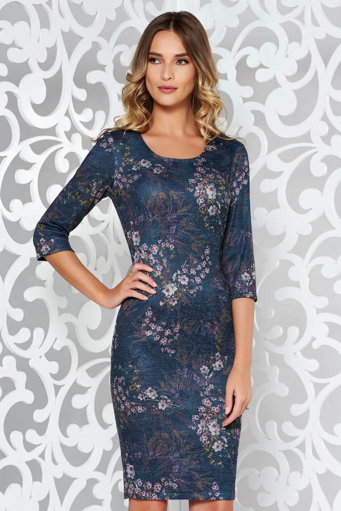Rochie conica din tricot cu imprimeu floarl